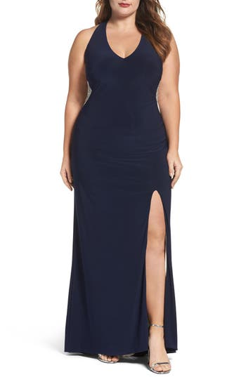 Plus Size Xscape Embellished Back Jersey Gown