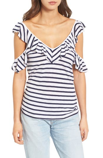 Splendid French Stripe Cold Shoulder Top, White