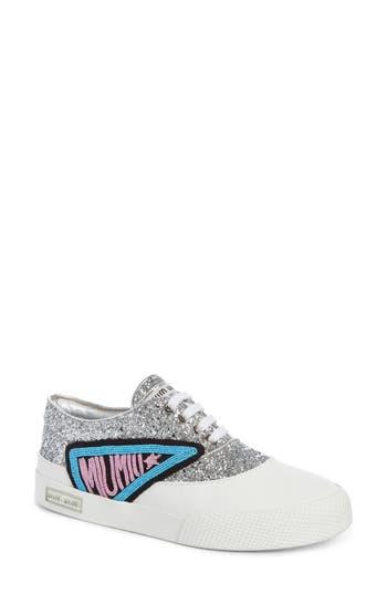 Miu Miu Beaded Glitter Lace-Up Sneaker, White