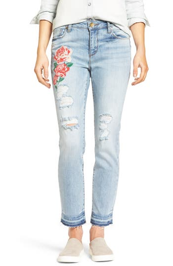 Kut From The Kloth Embroidered Straight Leg Jeans