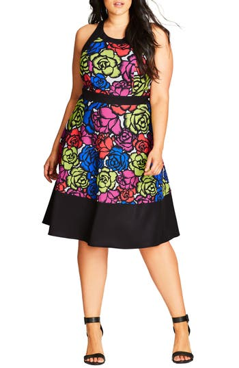 Plus Size City Chic Wild Rose Fit & Flare Dress