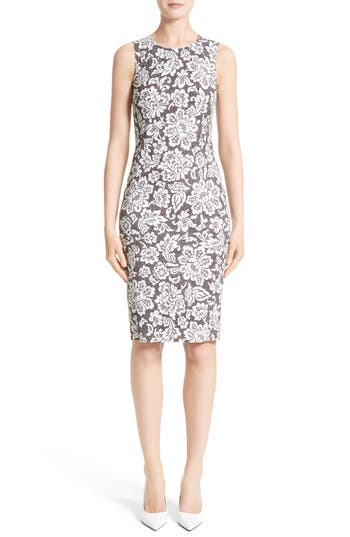 Michael Kors Stretch Cady Lace Print Sheath Dress