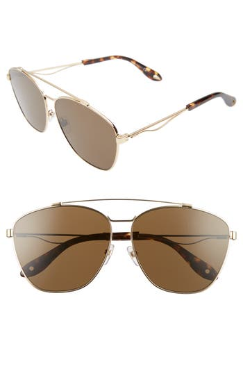 Women's Givenchy 65Mm Round Aviator Sunglasses - Gold