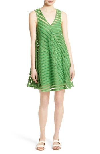 Tracy Reese Directional Stripe Flared Tank Dress, Green