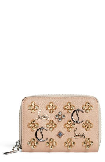 Women's Christian Louboutin Panettone Leather Coin Purse - Beige