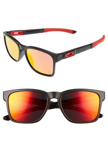 Oakley Catalyst 5m Polarized Sunglasses - Matte Black/ Ruby Iridium P
