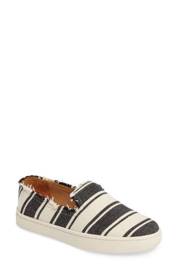 Soludos Stripe Slip-On Sneaker- Black
