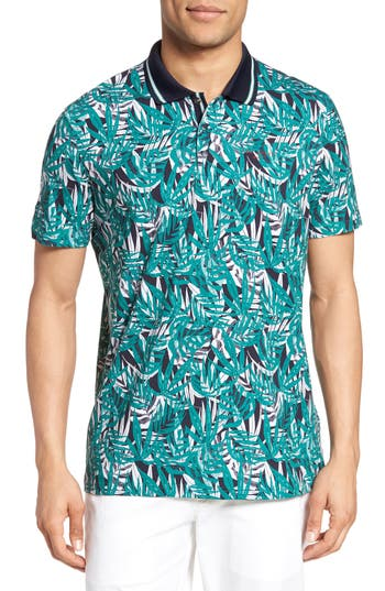 Men's Ted Baker London Legolf Leaf Print Golf Polo, Size 3(m) - Green