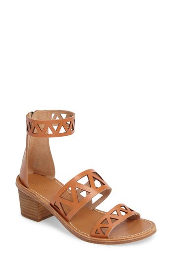 Soludos Perforated Ankle Strap Sandal, Brown
