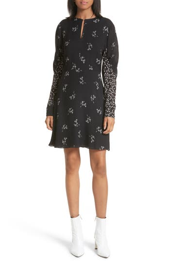 Tibi Lila Floral A-Line Dress, Black