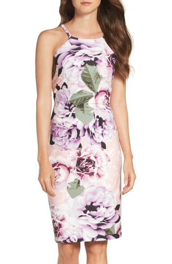 Vince Camuto Crepe Halter Body-Con Dress, Pink