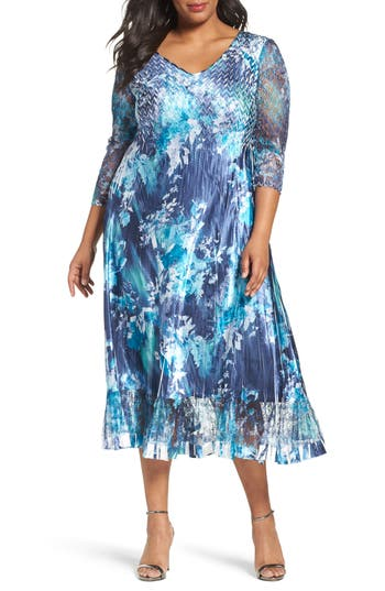 Plus Size Komarov Print Charmeuse & Chiffon A-Line Dress