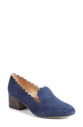 Chloe Scallop Loafer Pump, Blue