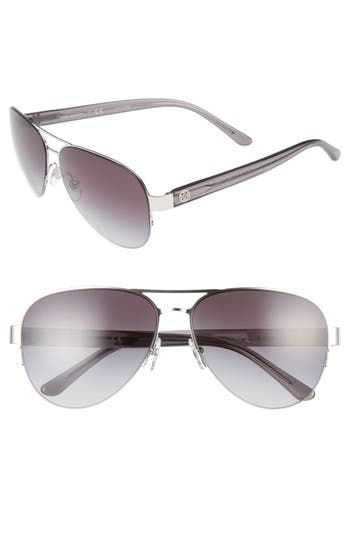 Women's Tory Burch 59Mm Aviator Sunglasses - Silver