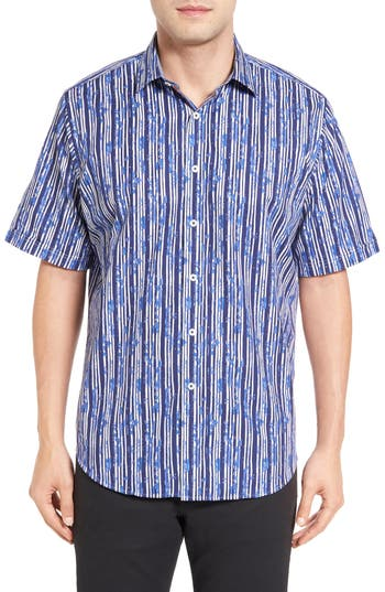 Men's Bugatchi Classic Fit Stripe Print Sport Shirt