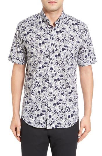 Men's Bugatchi Shaped Fit Optic Swirl Short Sleeve Sport Shirt