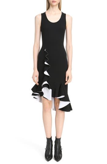 Givenchy Bicolor Ruffle Crepe Dress, 8 FR - Black