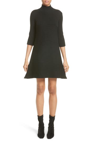 Stella Mccartney Virgin Wool Rib Knit Dress, 8 IT - Black