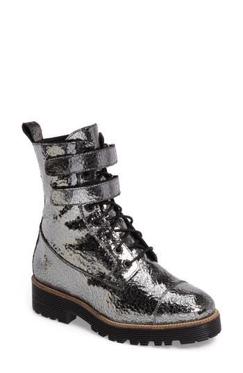Shellys London Tyra Combat Boot, Metallic