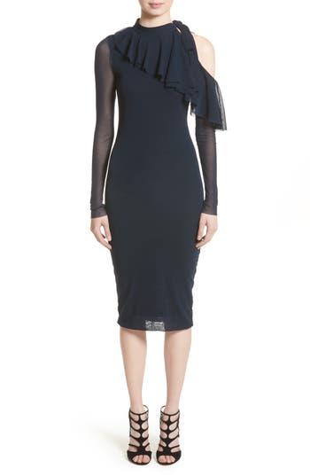 Fuzzi Tulle One-Shoulder Midi Dress, Blue