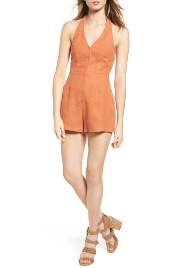 Women's Astr The Label Mariana Halter Romper, Size X-Small - Orange