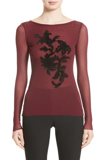 Fuzzi Embroidered Tulle Top, Burgundy