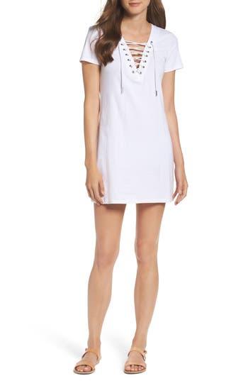 Bardot Lace-Up Shirtdress, Ivory