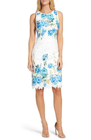 Maggy London Print Lace Sheath Dress