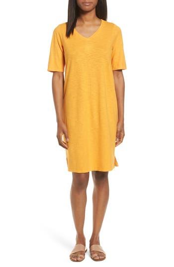 Women's Eileen Fisher Hemp & Organic Cotton Shift Dress, Size Medium - Orange