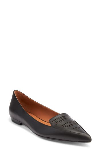 Shoes Of Prey Pointy Toe Flat, Black