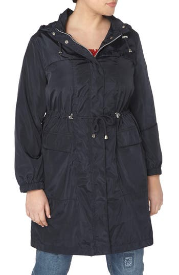 Plus Size Women's Evans Longline Hooded Raincoat, Size 14W US / 18 UK - Blue