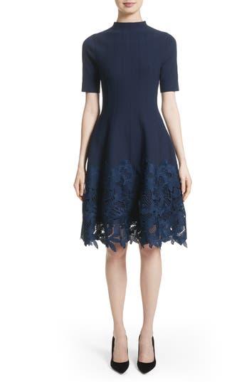Lela Rose Lace Hem Knit Dress, Blue