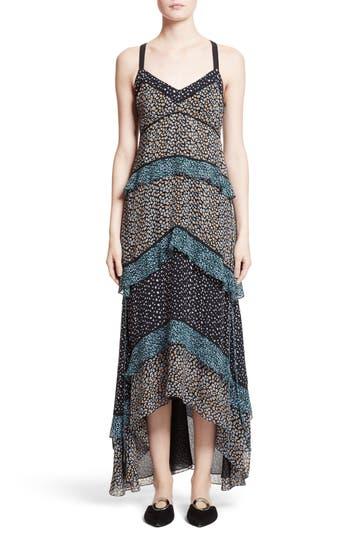 Proenza Schouler Print Silk Tiered Maxi Dress, Black