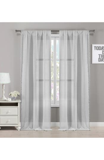 Lala + Bash Addyson Sheer Pompom Window Panels, Size One Size - Grey