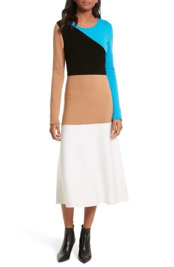 Diane Von Furstenberg Crewneck Flare Knit Dress, Size Petite - Beige