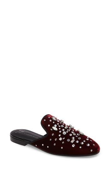Women's Giuseppe Zanotti Embellished Velvet Loafer Mule, Size 8 M - Burgundy