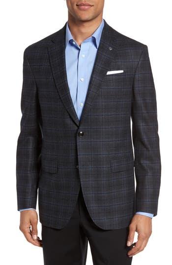 Ted Baker London Konan Trim Fit Plaid Wool Sport Coat, 4 R - Grey