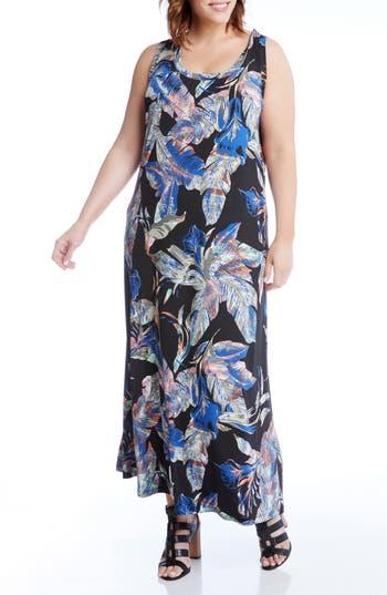 Plus Size Karen Kane Leaf Print Jersey Maxi Tank Dress, Black