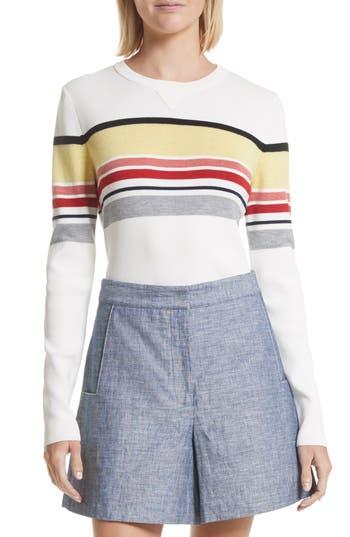 Women's Grey Jason Wu Stripe Sweater, Size X-Small - Ivory