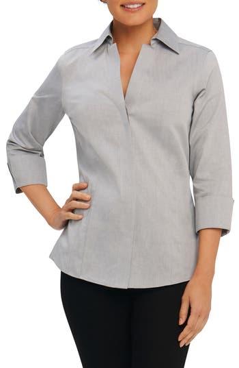 Foxcroft Fitted Non-Iron Shirt, Metallic
