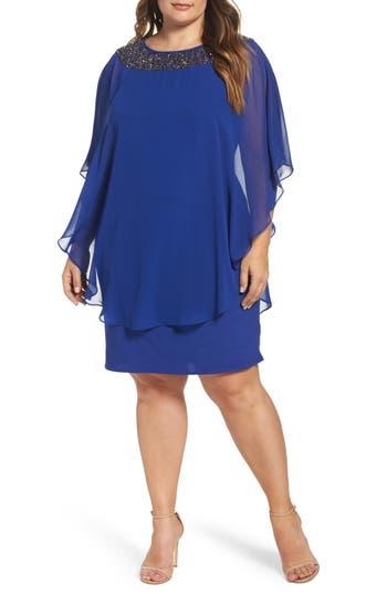 Plus Size Xscape Embellished Chiffon Overlay Jersey Sheath Dress, Blue