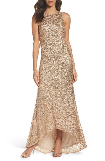 Adrianna Papell Sequin High/low Gown, Beige