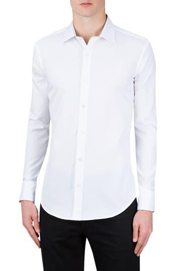 Men's Bugatchi Shaped Fit Checker Print Sport Shirt