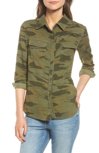 Splendid Camo Double Pocket Shirt, Green