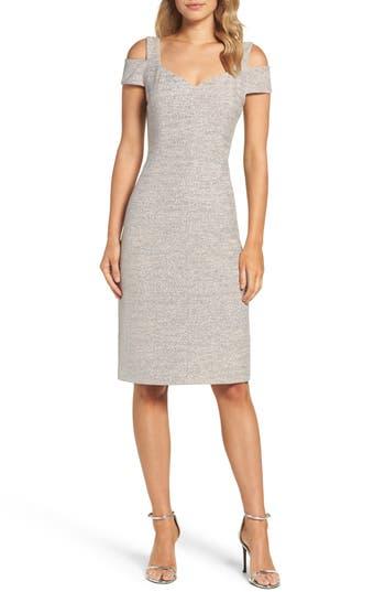 Eliza J Cold Shoulder Sheath Dress, Ivory