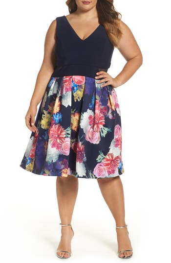 Plus Size Xscape Mesh Inset Print Skirt Scuba Knit Dress, Blue