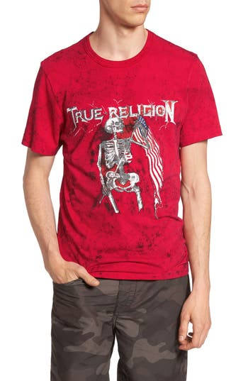 True Religion Brand Jeans 4Th Flag Embroidered Graphic T-Shirt, Red