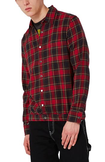 Topman Check Flannel Shirt Jacket, Red