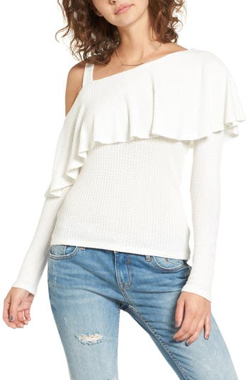 Women's Soprano Asymmetrical Ruffle Top, Size X-Small - Ivory