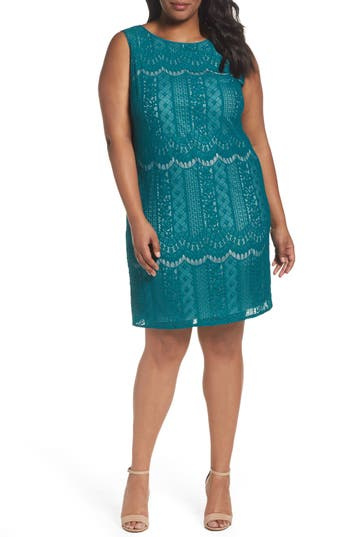 Plus Size Adrianna Papell Lace A-Line Dress, Green